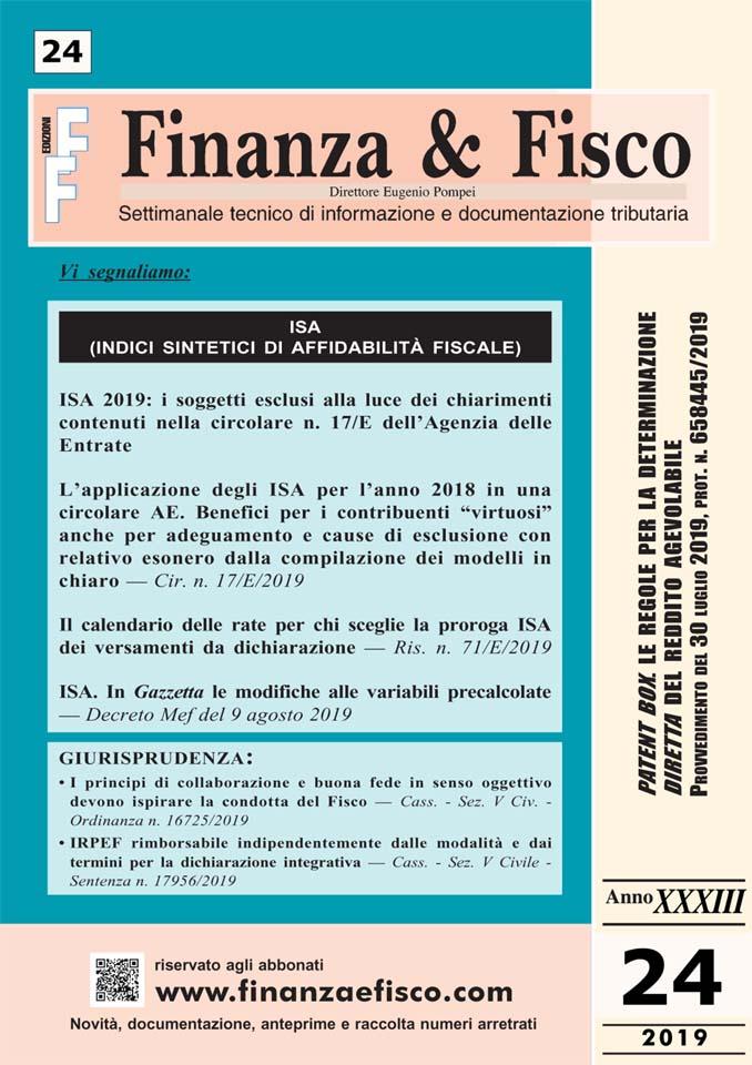 Calendario Fiscale 2019.Sommario Finanza Fisco N 24 Del 2019 Finanza Fisco