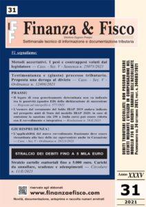 Copertina del settimanale Finanza & Fisco n. 31 del 2021